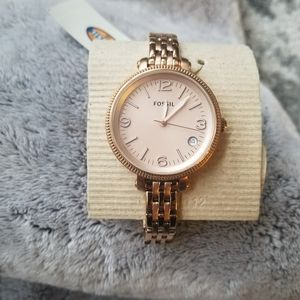 Fossil stainless steel women rose gold watch